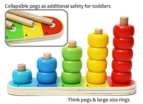 Toys of Wood Oxford Anillos apilables Bebe - Conjunto de 15 Anillos de conteo para Aprender a Contar, Aprender matemáticas y Aprender los Colores - Juguete Educativo de Madera para 1 año de Edad