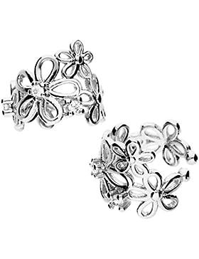 MYA art Damen Ohrklemme Ear Cuff Ohrringe 925 Sterling Silber Vintage Blumen mit 6 Zirkonia MYASIOHR-24