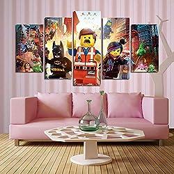 ZEMER CuadrosEn Lienzo DC Superhero Lego Imágenes 5 Panel Mural Justice League Pintar La Imagen para Regalo De Decoración Hogar (Sin Marco)