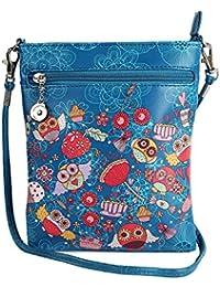 Stylish Multi Color Printed PU Leather Sling Bag For Girls / Women / Ladies 3 Zipper Pocket Cross Body Bag By... - B073RK6SZ2