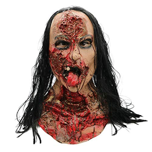 Weiblich Krähe Kostüm - BLUEDYYY Horror Maske Zombie Scary Cosplay Kostüm Party Halloween Requisiten Dekoration Requisiten Monster Walking Dead Vollkopf Maske Ghost Latex Bad Face Female Ghost,M