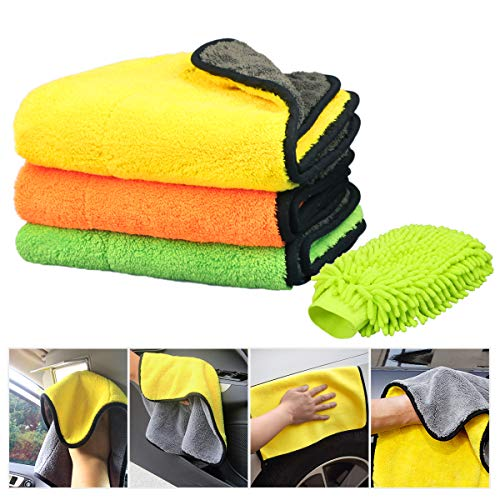 840gsm Auto Reinigungstuch, Calmare Auto-detaillierungs Tuch, Dual-Schicht-Ultra-dickes Handtuch-Tuch Auto detailliert Mikrofaser-Handtücher zum Polieren von wachsen Trocknungs Reinigung (15 * 17inch)