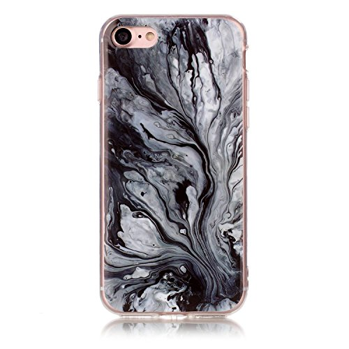 Coque iPhone 7 Plus, LuckyW Housse Etui TPU Silicone Clear Clair Transparente Gel Slim Marbre Case pour Apple iPhone 7 Plus/7S Plus(5.5 pouces) Soft de Protection Cas Bumper Cover Converture Anti Pous Noir 1