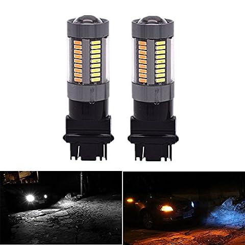 FEZZ Auto LED Ampoules Clignotants et Feux de Jour (DRL) 1000 Lumens 4014 66SMD 3157 3155 3457 4157 T25 Switchback avec projecteur Blanc Jaune (Lot de 2)