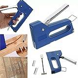 TOOGOO Grapadora de clavos mini grapas Kit de maquina de grapado con 100 piezas Clavos de 6 mm para muebles Herramientas de mano de grapadora de carpinteria