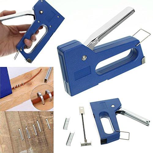 Foto de Kit de mini grapadora con 100 grapas 6 mm para madera, tapizar, bricolaje, tapiceros, reparaciones, restauracion pistola de grapas de OPEN BUY