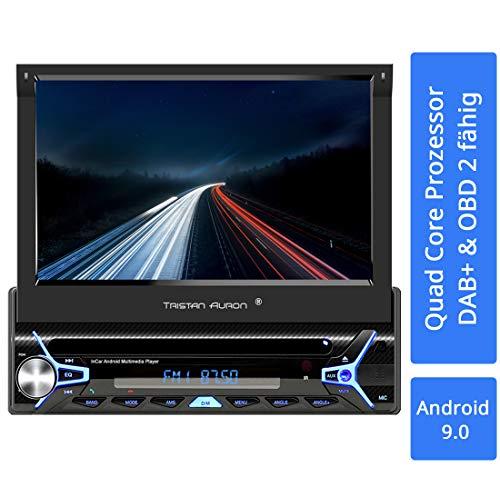 Tristan Auron BT1D7022A Autoradio mit Android 9.0 I 7'' Touchscreen Bildschirm, GPS Navigation, Bluetooth Freisprecheinrichtung, Quad Core Prozessor, Mirrorlink, USB, SD, OBD 2, DAB+ I 1 DIN