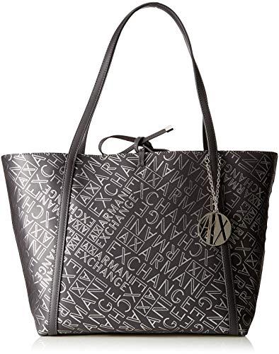 Armani Exchange Damen Medium Shopping Bag Tote, Silber (Antracite/Argento), 28.0x13.0x49.0 cm -