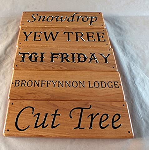 Carved House sign 500 mmx 100 mm Solid Oak by Signs at Home