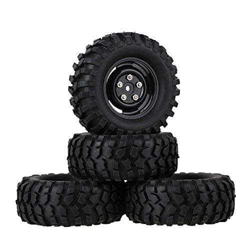 mxfans-12mm-hex-black-plastic-wheel-rims-with-screws-rubber-tyres-tires-for-rc-110-racing-climbing-r