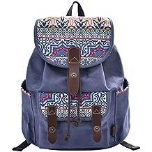 Douguyan Mochila para Mujer de lona y PU cuero Bolso de Ocio de Viaje Moda  E00137
