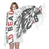 COOSUN Lobo grande de impresión bufanda de seda Ligera bufanda larga del abrigo del mantón de...