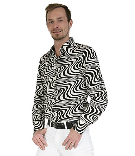 Chenaski 70er Jahre Retro Partyhemd Schwarz Cremeweiß Hippie Mode schwarz cremeweiss
