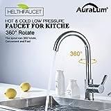 Auralum Chrom Küchenarmatur Niederdruck Kupfer Spültischarmatur Mischbatterie für Küche 360° Drehung Armatur
