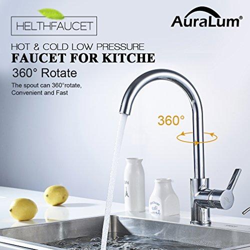 AuraLum 360° Drehbar Niederdruck Wasserhahn Niederdruck Mischbatterie Küchenarmatur - 3