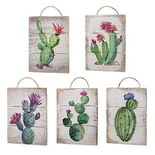 Dcasa - Set 5 Cuadro Abeto Cactus 15x20 cm