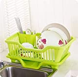 HB Mall India 3-in-1 Plastic Kitchen Sink Dish Drainer Drying Rack Washing Basket