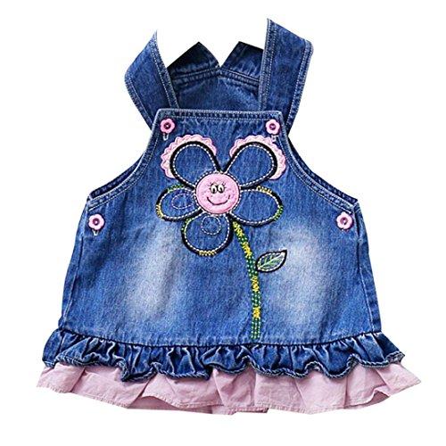 Bekleidung Longra Baby Mädchen Baumwolle Prinzessin Kleid Pageant Sonne Blumen Cowboy Kinder Sommer Kleid (0-24Monate) (65CM 6Monate, Bule)