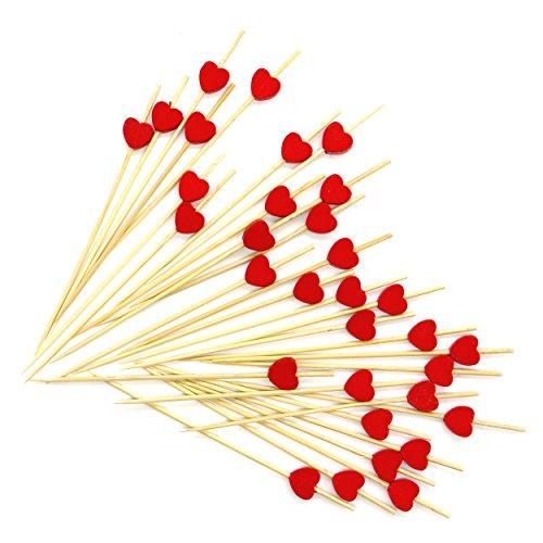 PuTwo-Bastoncini da cocktail 100Conta stuzzicadenti in legno a forma di cuore, Legno, Red Heart, Wooden