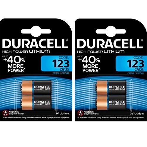 Duracell 4 Pilas fotovoltaicas CR123 3 V Ultra de Litio, DL123 - EL123A - CR123A - CR17345