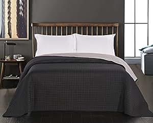 decoking 45800 tagesdecke 220 x 240 cm schwarz stahl silber anthrazit grau bett berwurf. Black Bedroom Furniture Sets. Home Design Ideas