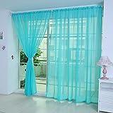 Notdark 1 Stück Transparente Einfarbige Vorhang Gardine Sheer aus Voile, Viele Attraktive Farben, 200x100 (200cm x 100cm, Pfau Blau)