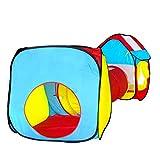 L.Y Body bébé Tente tunnel Tente de jeu enfants Tente de jeu de rôle avec 1Tunnel et 2pop up Cube pour enfant fête de jardin Intérieur et extérieur