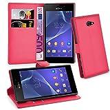 Cadorabo Hülle für Sony Xperia M2 Hülle in Karmin Rot Handyhülle mit Kartenfach und Standfunktion Case Cover Schutzhülle Etui Tasche Book Klapp Style Karmin-Rot