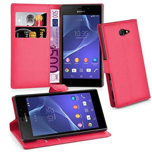 Cadorabo Hülle für Sony Xperia M2 Hülle in Karmin Rot Handyhülle mit Kartenfach & Standfunktion Case Cover Schutzhülle Etui Tasche Book Klapp Style Karmin-Rot