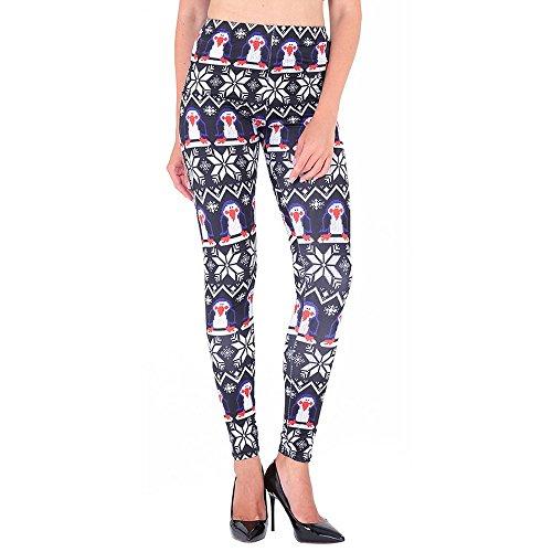 Vertvie Femme Leggings Imprimé Floarl Flocon de Neige Noël Pantalon Chaud Collant Stretch Extensible pour Automne Hiver 26
