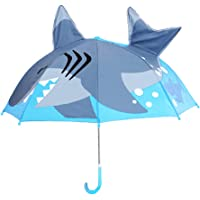 Olele Kids Umbrella for Boys and Girls Children Umbrella Lightweight Cute Motif 3-D Black up to Age 8 (Shark)