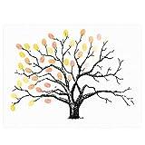 WINOMO Kreative Fingerabdrücke Baum Malerei DIY Gast anmelden Buch Fingerabdruck Malerei für Hochzeit Geburtstag Party (Gelb)