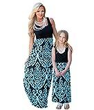 YOUJIA Boho Mère Et Fille Col Rond sans Manches Maxi Taille Haute Robes Longue Famille Robe de Soirée (#4 Bleu, 7-8T)
