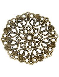 Housweety Bijoux Accessoires 50 Connecteurs Rond Fleur Filigrane Bronze 35mm