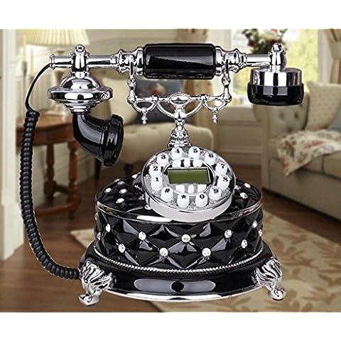25 * 23 * 24cm telefoni antichi di resina creativo black diamond, telefono vintage retrò moda casa ornamenti decorativi di rete fissa di rete fissa