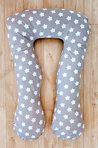 LOOLAY® XXXL Stillkissen Typ A Typ U 330 cm Lagerungskissen Schwangerschaftskissen Relaxkissen ink.Bezug MUSTER: Sterne Lebkuchen grau