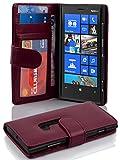 Cadorabo Hülle für Nokia Lumia 920 - Hülle in BORDEAUX LILA – Handyhülle mit 3 Kartenfächern - Case Cover Schutzhülle Etui Tasche Book Klapp Style