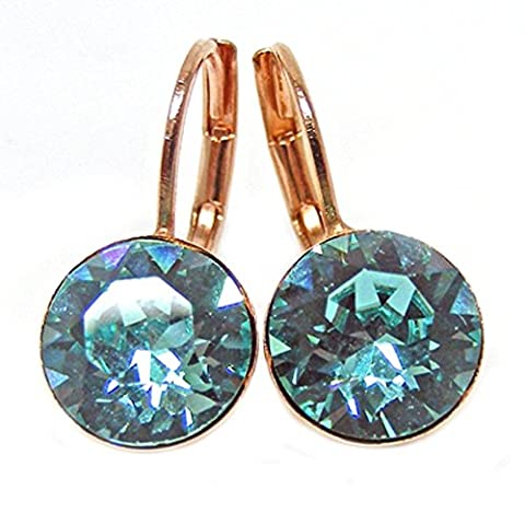 Linus Jade® Hook Earrings Crystals from Swarovski Rose Gold Plated Light Turquoise