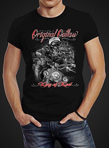 Herren T-Shirt King Of The Road Motorrad Biker Skelett Rockabilly Slim Fit Baumwolle Neverless® Schwarz