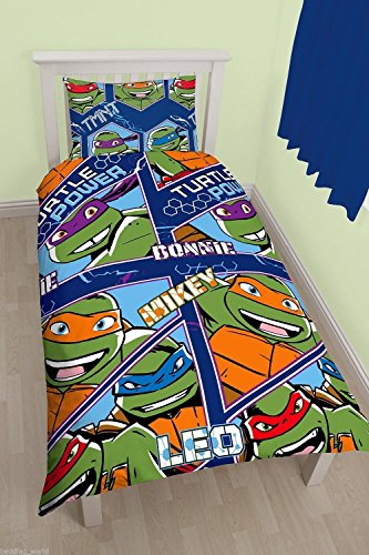 Turtle Einzelbetten Teenage Ninja (Kinder Offizielles Lizenzprodukt Charakter Cartoon Print Disney Wende Rotary Bettbezug Set, Teenage Ninja Mutant Turtles Print, Einzelbett)