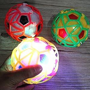 Everpert Bola de salto de luz LED para niños Crazy Music Football Juguete divertido para niños