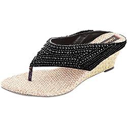 Thari Choice Women's Fashion Embroidered Black & Beige Wedges Sandal (Ind/Uk-7)
