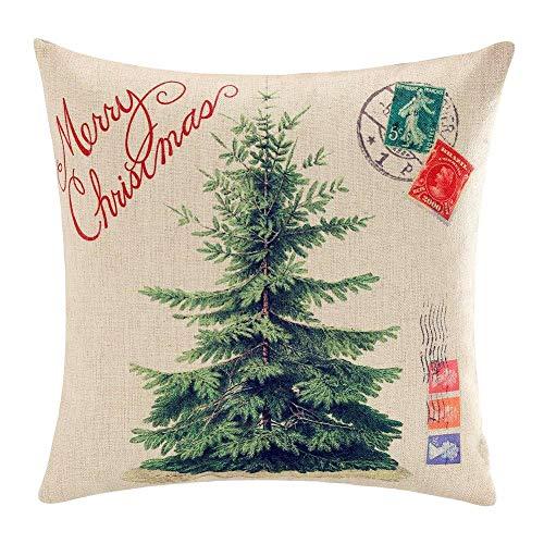 Touch-Kissenbezug mit Aufschrift Merry Christmas, Weihnachtsdekoration, Baumwolle, Leinen, für Sofa, Neujahr, Geschenk 20 x 20 Inches M 2 (Dekorieren Sie Einen Kissenbezug)