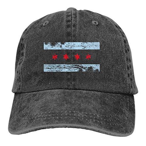 j65rwjtrhtr Unisex Adjustable Vintage Jeans Baseball Cap Chicago-Flag Plain Cap