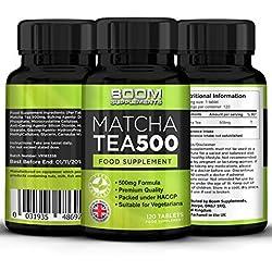 Matcha Tee Extrakt 500mg Max Festigkeit 120 leistungsstarke grüne Tee Fat Loss Kapseln | 4 Monate Versorgung | Hilft Schuppen Fett für Männer und Frauen