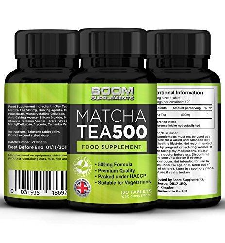 Leistungsstarke Antioxidantien-formel (Matcha Tee Extrakt 500mg Max Festigkeit 120 leistungsstarke grüne Tee Fat Loss Kapseln | 4 Monate Versorgung | Hilft Schuppen Fett für Männer und Frauen)