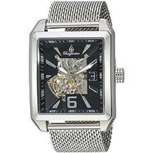 Burgmeister Reloj automático para hombres con negro Esfera Analógica y plata pulsera de acero inoxidable BM325–121