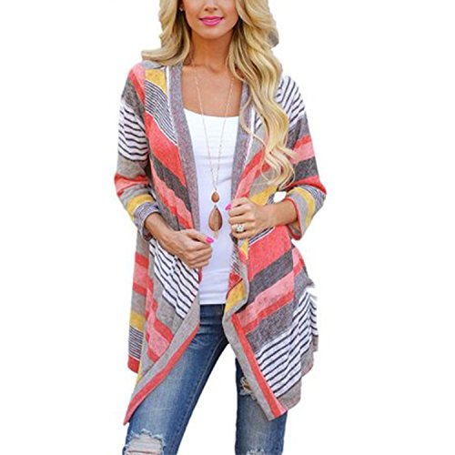 Frauen Lrregular Spleiß Stripe 3/4-Arm Schal Kimono Cardigan Lose Oberseiten Bluse (S) (Schulterzucken Grün)
