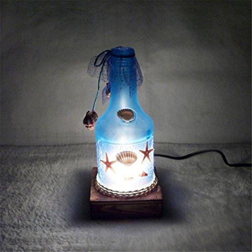 SHOBDW Nachtlicht kreative romantische Ocean Style Flasche Tischlampe (Blau) (Drucken Spinner)