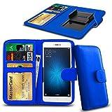 N4U ONLINE - Verschiedene Farben Clip Serie PU- Leder Brieftasche Buch Hülle für Gionee Ctrl V5 - Blau